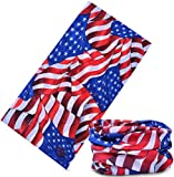 12-in-1 American Flag Headband Bandana [US Flag for July 4th] - Wear it as a Neck Gaiter, Bandana, Balaclava, Helmet Liner, Mask & More. Constructed with High Performance Moisture Wicking Microfiber. Perfect for Athletic and Casual Wear. 100% Satisfaction Money-Back Guarantee.