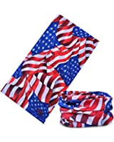 12-in-1 American US Flag Headband Bandana - Wear it as a Neck Gaiter, Bandana, Balaclava, Helmet Liner, Mask & More. Constructed with High Performance Moisture Wicking Microfiber. Perfect for Athletic and Casual Wear. 100% Satisfaction Money-Back Guarantee.