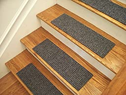Essential Carpet Stair Treads - Style: Ribbed - Color: Crystal Blue - Size: 24\