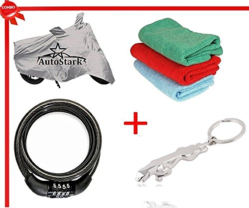 AutoStark Scooty Body Cover Silver+ Helmet lock+ Microfiber Cleaning Cloth+ Jaguar shaped keychain for Hero Pleasure  available at amazon for Rs.495