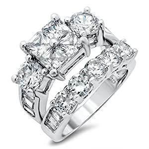 sterling silver cubic zirconia cz wedding engagement ring set jewelry