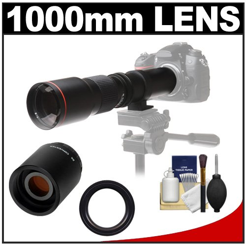 Vivitar 500Mm F/8.0 Telephoto Lens With 2X Teleconverter (=1000Mm) + Accessory Kit For Sony Alpha Dslr Slt-A37, A57, A58, A65, A77, A99 Dslr Cameras
