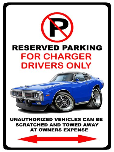 1973-74 Dodge Charger Muscle Car-Toon No Parking Sign