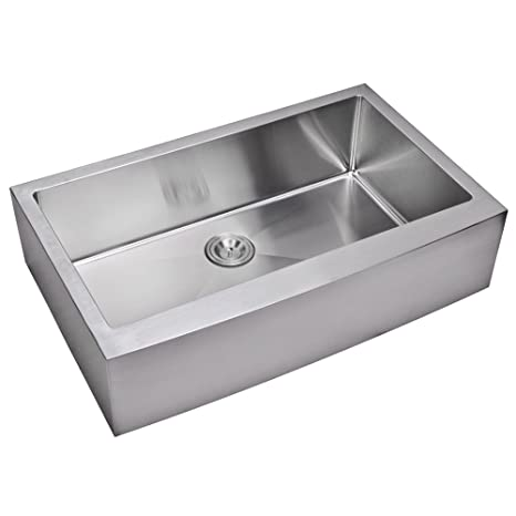 "Water Creation SS-AS-3622B 36"" X 22"" 15 mm Corner Radius Single Bowl Stainless Steel Hand Made Apron Front Kitchen Sink Premium Scratch Resistant Satin Stainless Steel"