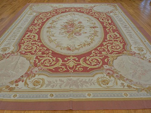 9'x12' Hand Woven Flat Weave Aubusson Oriental Rug Rust Red Sh21385
