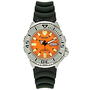 Seiko Men's Orange Monster SKX781K3 Black Rubber Automatic Watch with Orange Dial