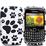 Cooltechstuff White/Black Soft Silicone/Gel/Rubber Case Cover/Foot Print Paws For Blackberry Curve 8520 / 3G 9300