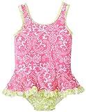 Flap Happy Baby-Girls infantil Upf 50+ infantil Ruffle traje de bano, Rosa Piña Scroll, 12Meses Color: Rosa Piña Scroll Tamaño: 12Meses (Baby/Babe/Infant-Little Ones)