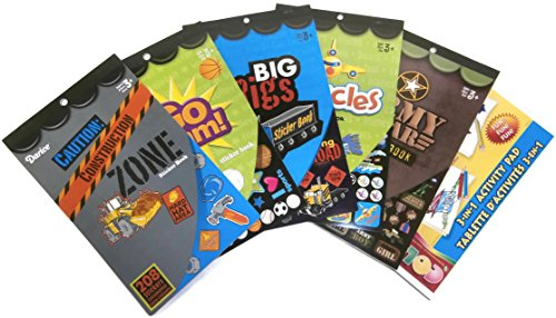 5 Boys Sticker Books With Activity Pad And 1846 Stickers Including Construction Zone, Army, Big Rigs, Vehicles and Sports (Gears Gears Gears Activity Book compare prices)