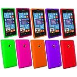 Emartbuy ® Nokia Lumia 520 Bundle Pack Of 5 Silicon Cover / Case Viola, Verde, Rosa, Arancio E Rosso