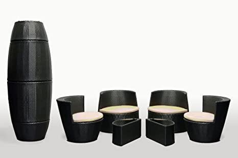 6 Piece Stackable All Weather Modern Outdoor Balcony Patio Furniture Set with Tan Color Cushions and Dark Brown Wicker Resin - Model S6