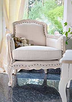 Armchair chair soft cotton wood mango tree lounge hall stylish beige