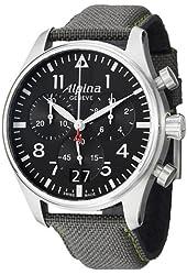 Alpina Startimer Pilot Black Dial Grey Fabric Strap Mens Watch AL372B4S6
