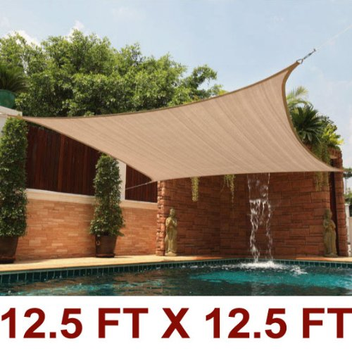 12 Ft X 12 Ft Sun Sail Shade Square Canopy Tan
