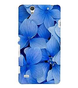 Blue Flowers 3D Hard Polycarbonate Designer Back Case Cover for Sony Xperia C4 Dual :: Sony Xperia C4 Dual E5333 E5343 E5363