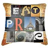 "Belkado Eat Pray Love Cushion Cover Throw Pillow ( Multi Color, 12""x12"" ) - B00TPEL26I"
