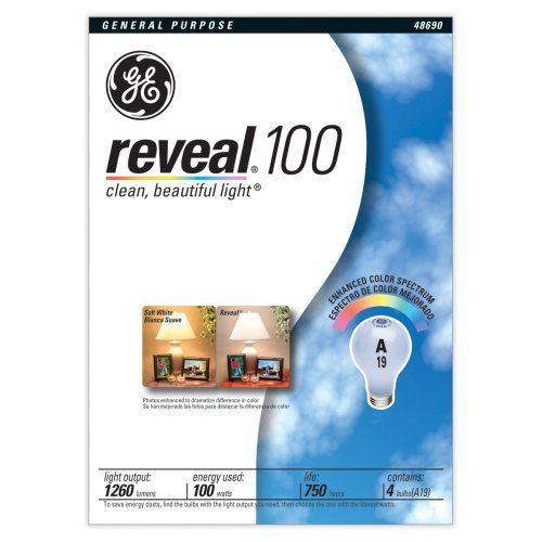 GE 48690 100-Watt A19 Reveal Bulbs, 8-Pack