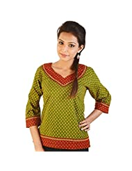 Jaipur RagaJaipuri Designer Leafy Print Green Cotton Top Red-Green Girls Kurti