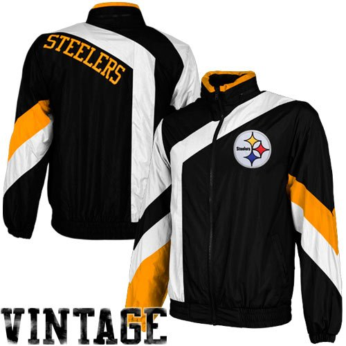 NFL Mitchell & Ness Pittsburgh Steelers One on One Windbreaker Jacket - Gold/Black/White (Medium) at Amazon.com