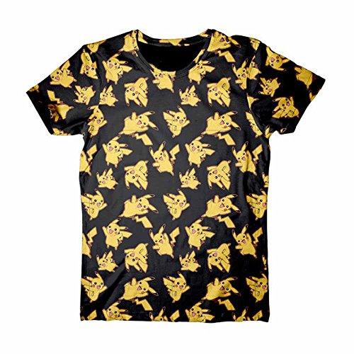 Pokemon-Pikachu-Allover-Camiseta-Negro
