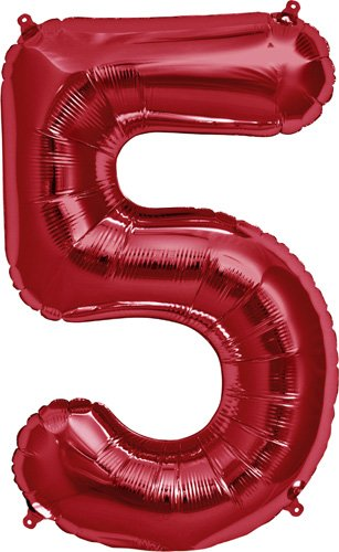 Number 5 - Red Helium Foil Balloon - 34 inch