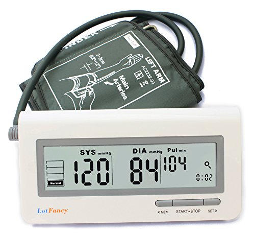 LotFancy Blood Pressure Machine, Automatic Digital BP Monitor with Irregular Heartbeat Detector, Accurate and Portable for Home Use, Large (Blood Pressure Testing Machine compare prices)