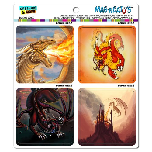 Graphics And More Dragons Fantasy Mag-Neato'S Automotive Car Refrigerator Locker Vinyl Magnet Set front-587840