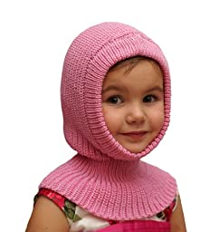 100% merino wool BALACLAVA baby newborn girl boy unisex knit knitted hat bonnet helmet coif hood scarf ski (9-24 months, Pink)