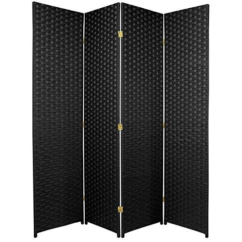 Oriental furniture 6 ft tall woven fiber room divider 4 panel black dividers - Opaque room divider ...