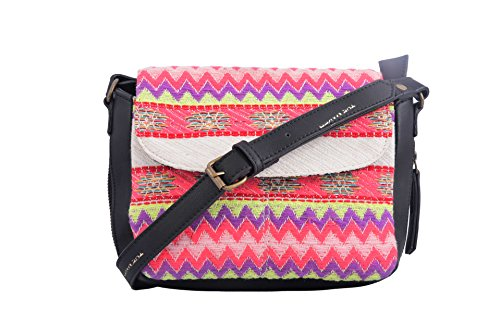 The Maker Pink Color Ikat Fabric & Synthetic Leather Slingbag