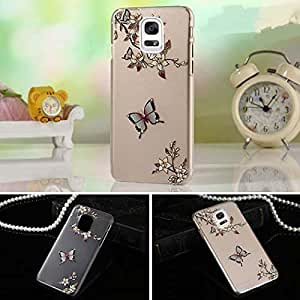 Samsung Galaxy Note 3 - Ultra Thin 3D Printed Butterfly and Flowers With Crystals. Transparent Clear Soft TPU Premium Quality Anti-Scratch Back Cover for Samsung Galaxy Note 3 - Transparent