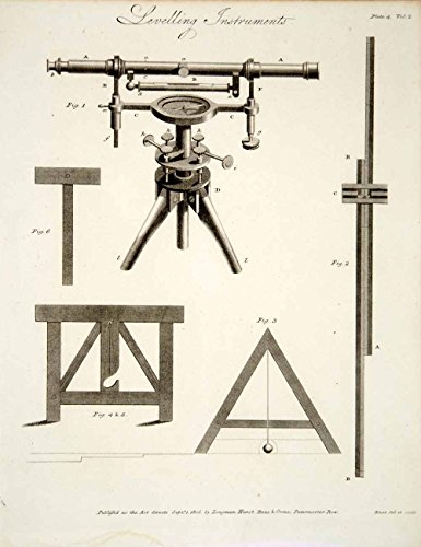 1807 Copper Engraving Land Surveying Spirit-Level Telescope Staff Implement Tcf2 - Original Copper Engraving