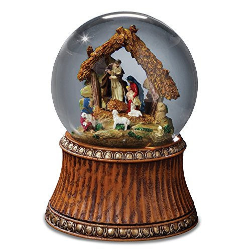 THE SAN FRANCISCO MUSIC BOX COMPANY Nativity Holiday Water Globe with Stable - Plays