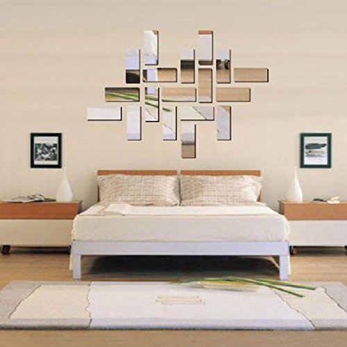 Soledi Silver Acrylic 3D Rectangle Design Mirror Effect Crystal Mural Wall Sticker Removable Decal Mosaic Art Home Room Decor Decoration Craft DIY