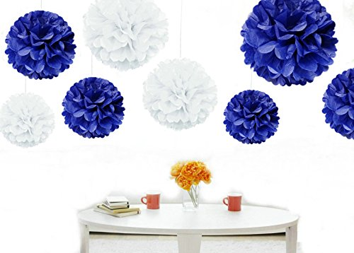 Kubert pom poms 12pcs tissue paper flowerswhite and lavender 3 kubert pom poms 12 pcs tissue paper flowersroyal blue white mightylinksfo