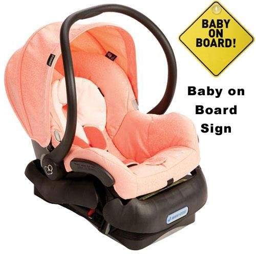 Maxi-Cosi IC099BIP Mico Infant Car Seat w Baby on Board Sign - Leopard Pink