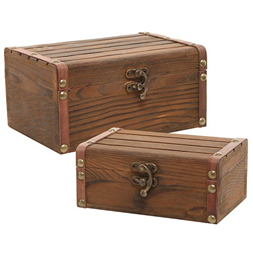 Set of 2 Rustic Torched Wood Finish Decorative Nesting Boxes / Jewelry & Trinket Storage Chests w/ Latch