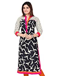 Black Cotton Long Pakistani Printed Cotton Kurtis(Size : 34)