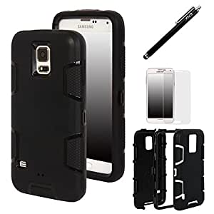 Galaxy S5, Galaxy S5 Case - E LV Shock-Absorption / High Impact Resistant Hybrid Dual Layer Armor Defender Full Body Protective Case Cover (Hard Plastic with Soft Silicon) for Galaxy S5 / Galaxy SV / Galaxy S V / Galaxy i9600 with 1 Black Stylus, 1 Screen Protector and 1 E LV Microfiber Sticker Digital Cleaner - Black / Black