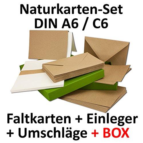 kraftpapier karten inklusive briefumschl ge einlegebl tter mit geschenkschachtel 50er set. Black Bedroom Furniture Sets. Home Design Ideas