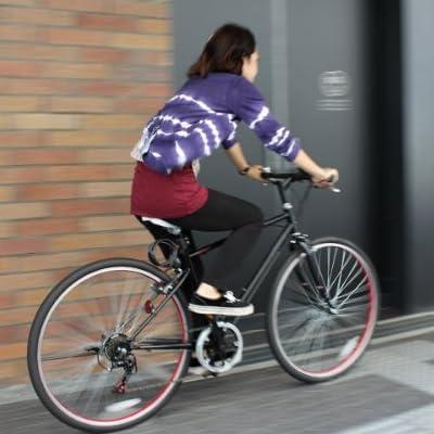 クロスバイク 26インチ シマノ6段変速ギア カギ・LEDライト付 TOPONE トップワン MCR266-29-BK ブラック