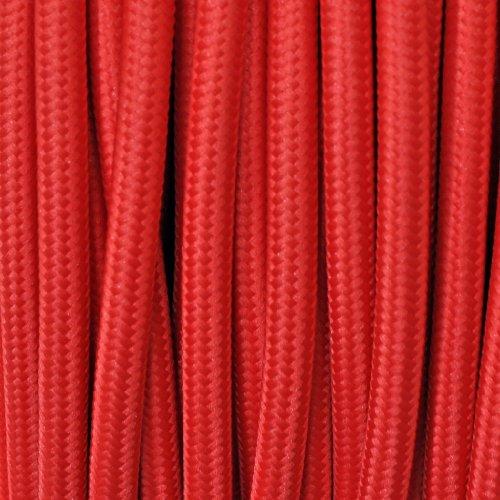 Cavo elettrico tondo rivestito in tessuto colorato per lampadari, lampade, abat jour. Il cavo elettrico diventa design! Scegli fra 30 colori. 5 Metri 2x0,75. Made in Italy! Rosso
