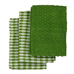 Linens Limited Terry Towelling Cotton Kitchen Tea Towels, Green/White, 3 Pack