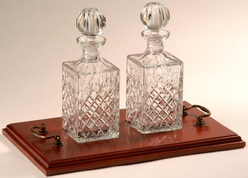 2 Crystal Whisky / Spirit Decanters on Wooden Tray
