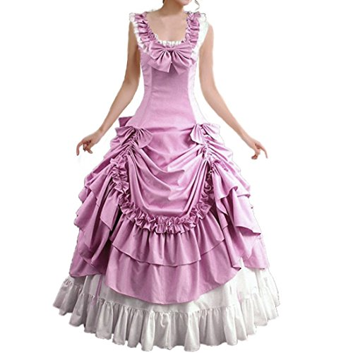 [Partiss Women's Sleeveless Bowknot BallGown Gothic Dress,XL,Pink] (Pink Lady Costume Images)
