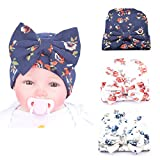 Xinshi Newborn Hat Soft Turban Baby Girl Big Bow Knot Cap (HC02 (3PCS))