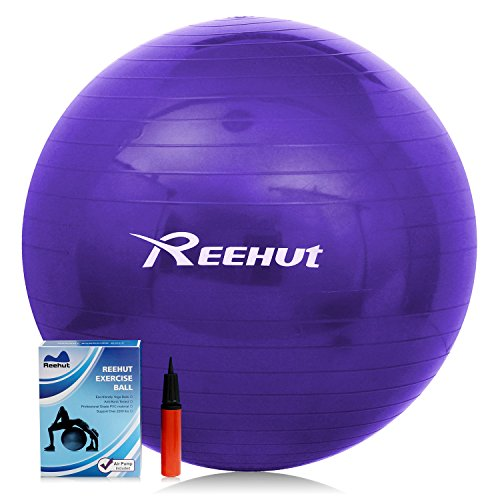 Reehut Anti-Burst Core Exercise Ball for Yoga, Balance, Workout, Fitness w/ Pump (Purple, 75CM)