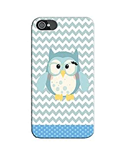 EU4IA Owl Pattern MATTE FINISH 3D Back Cover Case For iPhone 4 - D184