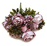 Pretty Charming 1 Bouquet Artificial Peony Flowers Festival Party Decorative Flower Wedding Christmas Home Decal Flower (Bean Paste)