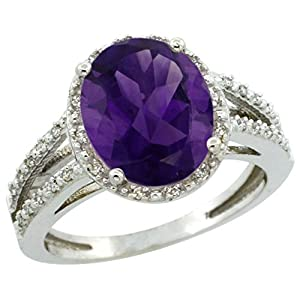 10K White Gold Natural Amethyst Diamond Halo Ring Oval 11x9mm, size 7